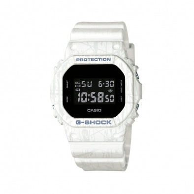 Мъжки спортен часовник Casio G-SHOCK бял с правоъгълен черен дисплей DW5600SL7ER 2