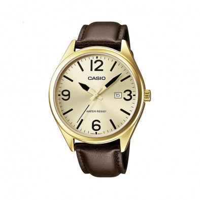 Мъжки часовник Casio Collection с жълта позлата на касата