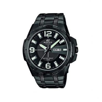 Мъжки часовник Casio Edifice черен браслет с дата и ден на циферблата