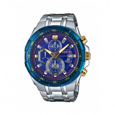 Мъжки часовник Casio Edifice сребрист браслет със златисти бутони