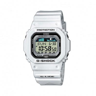 Мъжки часовник Casio G-SHOCK бял с правоъгълен циферблат