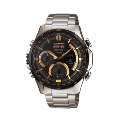 Мъжки часовник Casio Edifice сребрист браслет със златисти детайли на циферблата
