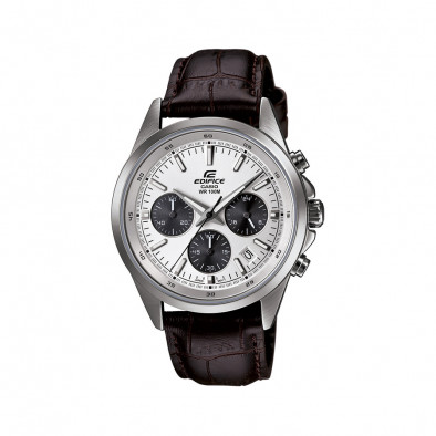 Мъжки часовник Casio Edifice с кафява кожена каишка и бял циферблат