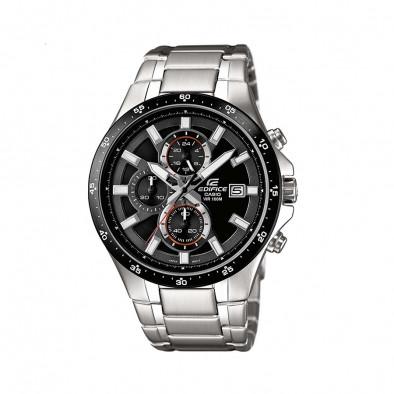 Мъжки часовник Casio Edifice сребрист браслет с черен ринг