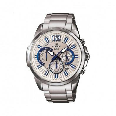 Мъжки часовник Casio Edifice сребрист браслет със синьо-бели индекси