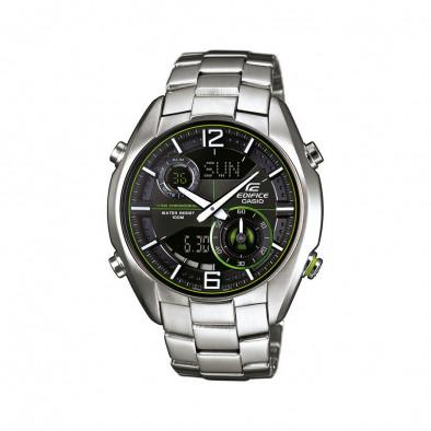 Мъжки часовник Casio Edifice сребрист браслет с неоново зелени детайли