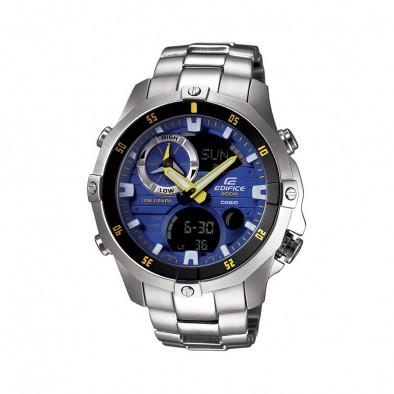 Мъжки часовник Casio Edifice сив браслет със син циферблат
