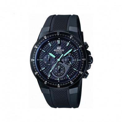 Мъжки часовник Casio Edifice черен със синьо-зелени стрелки