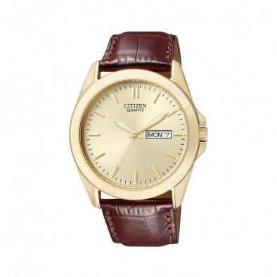Мъжки часовник Citizen златист с кафява каишка от естествена кожа