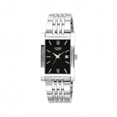 Мъжки часовник Citizen сребрист с черен правоъгълен циферблат