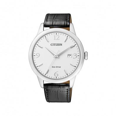 Мъжки часовник Citizen с черна каишка от естествена кожа