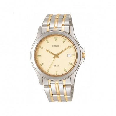 Мъжки часовник Citizen браслет със златист циферблат