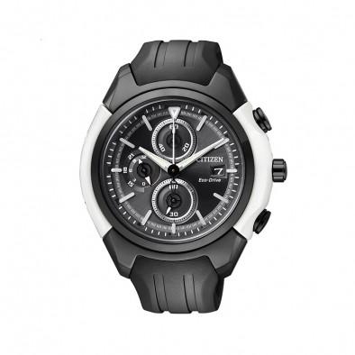 Eco-Drive Black Dial Chronograph Men's Watch CA0286-08E