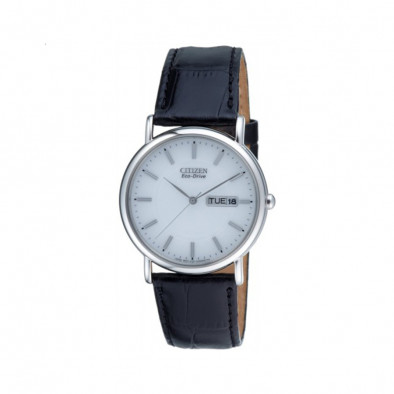 Eco-Drive White Dial Black Leather Calendar Men's Watch BM8241-01A