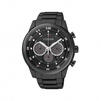 Мъжки часовник Citizen черен с бели цифри и индекси