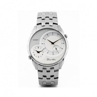 Мъжки часовник Citizen сребрист браслет с две времеви зони