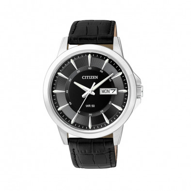 Eco-Drive Black Dial Black Leather Men's Watch BF2011-01EE