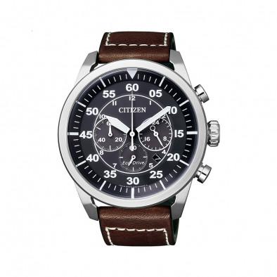 Мъжки часовник Citizen с каишка от естествена кожа в кафяво