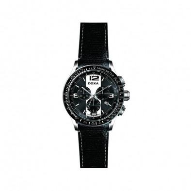 Мъжки часовник DOXA Trofeo черен с черна кожена каишка
