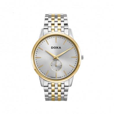 Мъжки часовник DOXA Slim Line сребрист браслет със златисти елементи