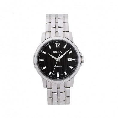 Мъжки часовник DOXA Ethno сребрист браслет с черен циферблат
