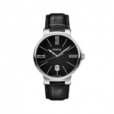 Мъжки часовник DOXA Il Duca черен с прозрачен заден капак