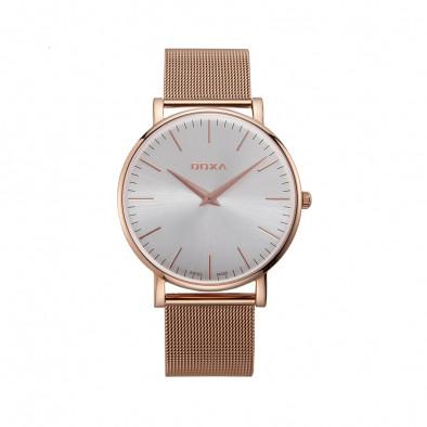 Мъжки часовник DOXA D-Light със стоманена каишка с розова позлата