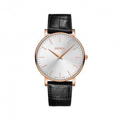 Мъжки часовник DOXA D-Light с черна каишка от естествена кожа