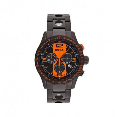 Мъжки часовник DOXA Trofeo черен с оранжеви детайли