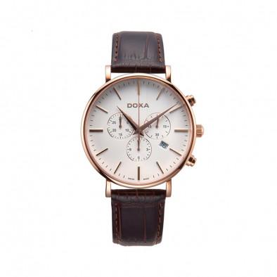 Мъжки часовник DOXA D-Light с розова позлата на касата