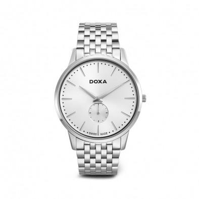 Мъжки часовник DOXA Slim Line сребрист браслет с бял циферблат