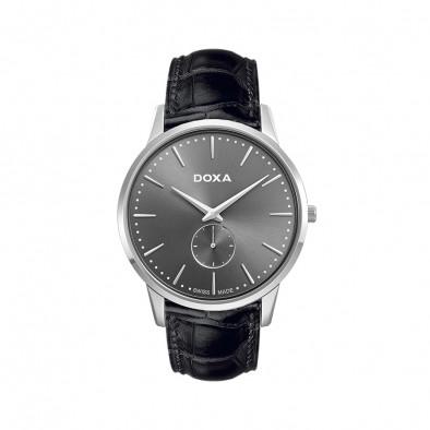 Мъжки часовник DOXA Slim Line черен  с малък секундарник