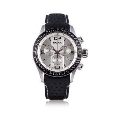 Мъжки часовник DOXA Trofeo с черна каишка от естествена кожа