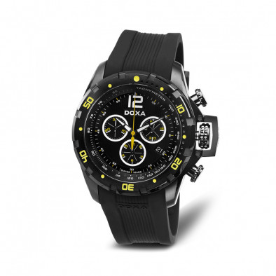 Мъжки часовник DOXA Water N'Sports черен с неонови детайли