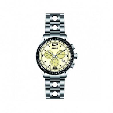 Мъжки часовник DOXA Trofeo сребрист браслет с жълт циферблат