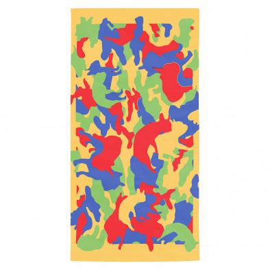 Жълта плажна кърпа с брутално яки силуети на кучета tsf120416-8 2