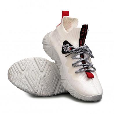 Мъжки бели плетени маратонки с акценти gr080621-5 4