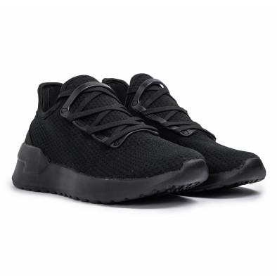 All black мъжки маратонки тип чорап Lace detail it260620-9 3