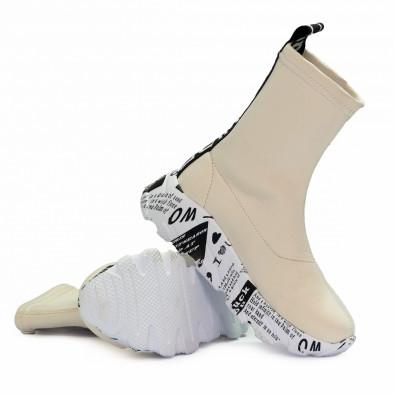 Бели дамски кецове чорап с детайл tr180920-1 4