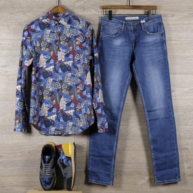 Slim fit мъжка риза десен в синьо tr110320-99 4