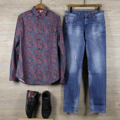 Slim fit мъжка риза жакардов десен tr110320-98 4