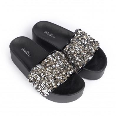 Дамски чехли на платформа черни пайети it030620-14 3