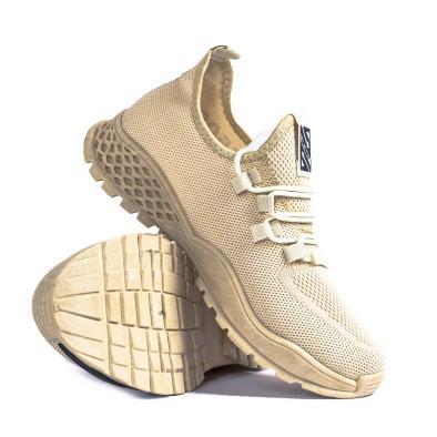 Мъжки леки бежови маратонки с акцент gr020221-3 5