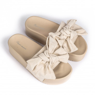 Бежови дамски чехли на платформа с панделка it030620-10 3