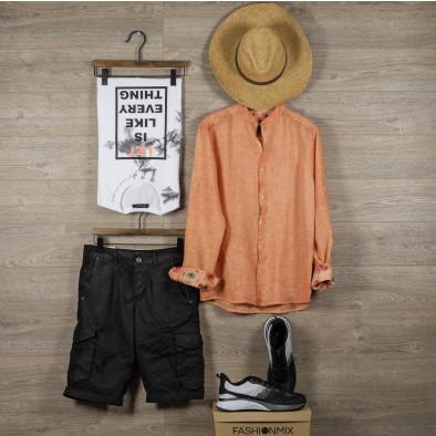 Мъжка оранжева риза от лен с яка столче tr110320-91 5