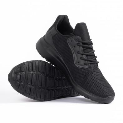 All black мъжки маратонки текстуриран текстил it260520-3 4