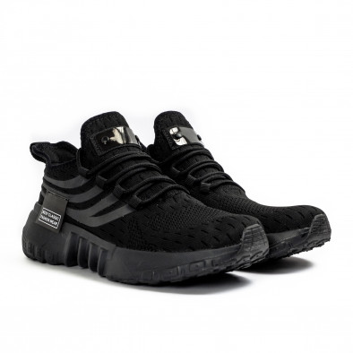 All black маратонки чорап с гумиран детайл it180621-4 3