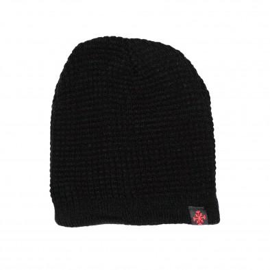 Черна мъжка шапка структурна плетка il161220-7 2