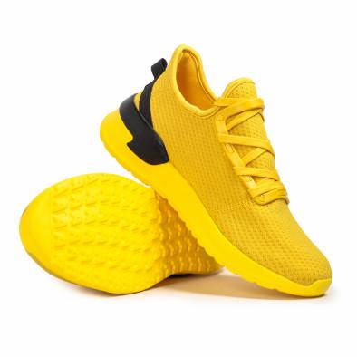 Жълти мъжки маратонки тип чорап Lace detail it260620-12 4