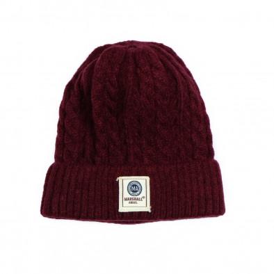 Мъжка шапка бордо с плетеници it231220-36 2